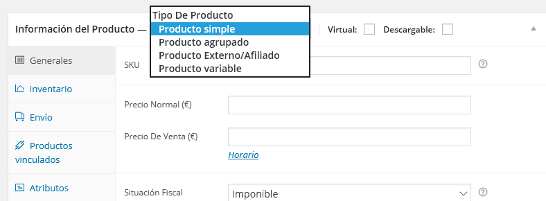 Productos variables en woocommerce