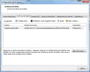 Copia de seguridad de Outlook